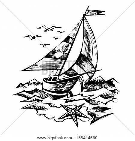 Sailing boat vector sketch isolated with waves and mountains. Starfish. Yachts, floating on the water surface.