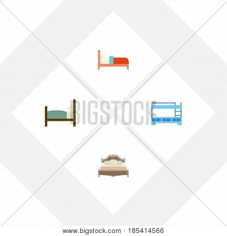 Flat Mattress Set Of Bed, Bedroom, Bunk Bed And Other Vector Objects. Also Includes Hostel, Bedroom, Bed Elements.