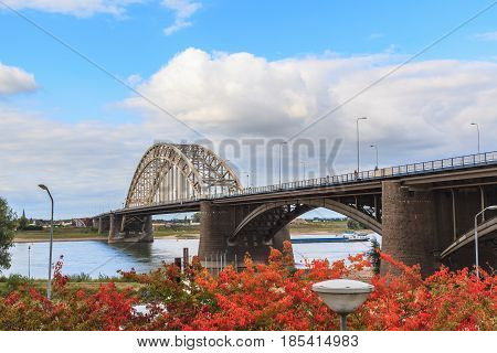 Beautiful construction of Waal bridge over river Nijmegen Netherlands