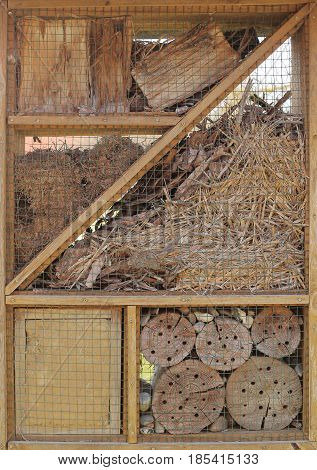 Insect Hotel With Various Materials Providing Shelter For Insects