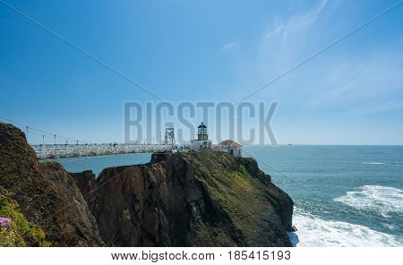 Point Bonita lighthouse on the Marin County headlands near San Francisco in California protecting the entrance to the Bay