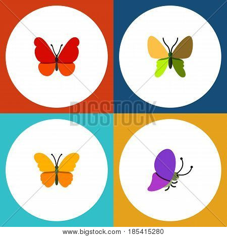 Flat Moth Set Of Monarch, Butterfly, Summer Insect And Other Vector Objects. Also Includes Moth, Butterfly, Milkweed Elements.