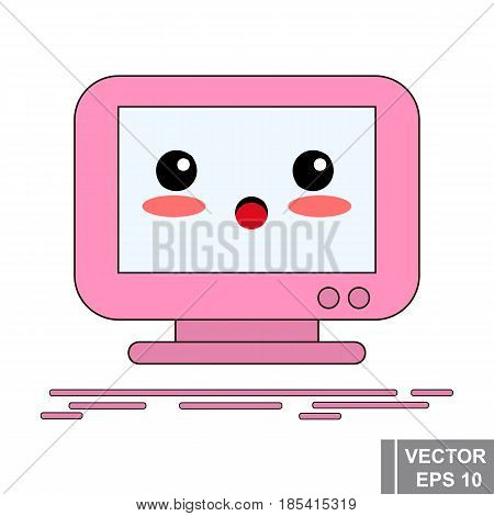 Cartoon Computer Monitor In Pink Color. Icon Isolated On White Background.