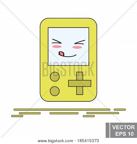 Cartoon Game Console Is Yellow. Icon Isolated On White Background.