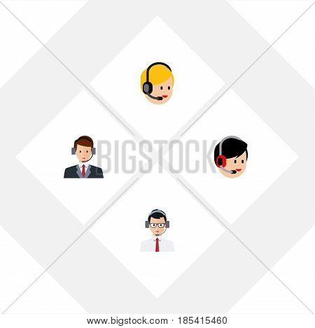 Flat Telemarketing Set Of Call Center, Operator, Help And Other Vector Objects. Also Includes Human, Call, Center Elements.