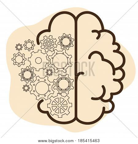 Human brain with gear wheels icon over beige and white background. Vector illustration.