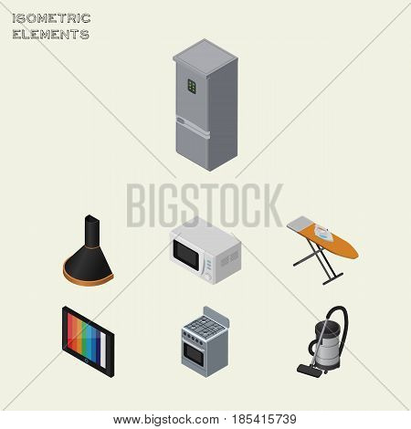 Isometric Device Set Of Air Extractor, Stove, Television And Other Vector Objects. Also Includes Vacuum, Extractor, Device Elements.