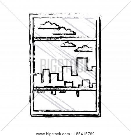 window building urban skyline sky sketch vector illustration