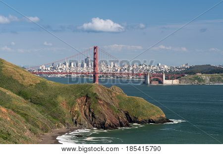 Marin Headlands with the Golden Gate Bridge and San Francisco taken on clear spring day