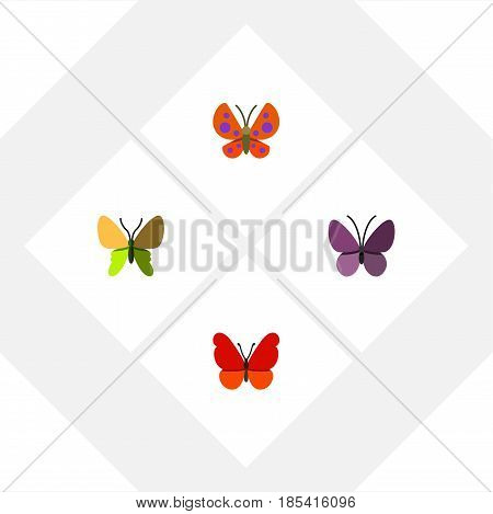 Flat Butterfly Set Of Beauty Fly, Moth, Violet Wing And Other Vector Objects. Also Includes Milkweed, Monarch, Insect Elements.