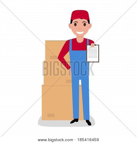 Vector illustration cartoon delivery man with cardboard boxes. Isolated white background. The concept of a business delivery service and loading.