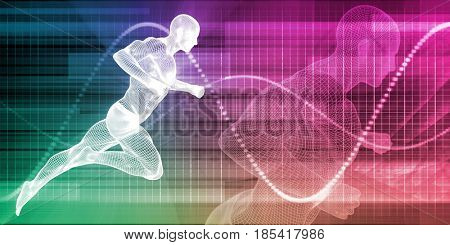 Wire Mesh Man Running on a Chart Background