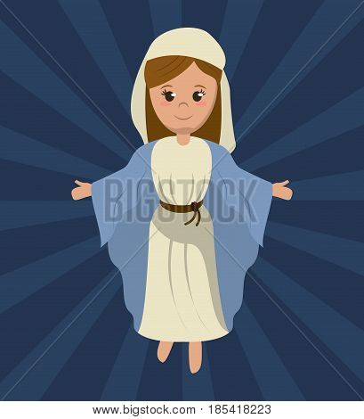 virgin mary holy religious image vector illustration