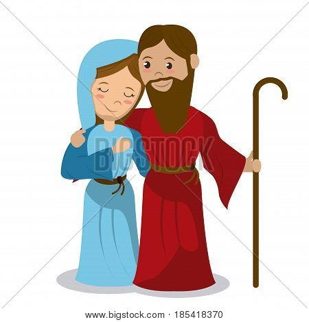 virgin mary and joseph holding stick hugging vector illustration