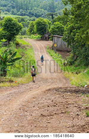 Trekking in dirt road in Linha Alegre Mucum Rio Grande do Sul Brazil