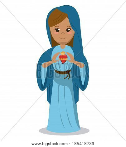 virgin mary sacred heart devotional image vector illustration