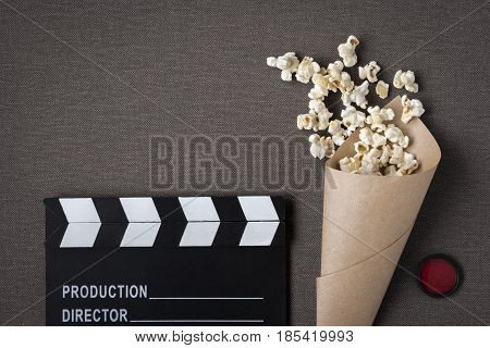Clapperboard popcorn bag and red filter removed from above
