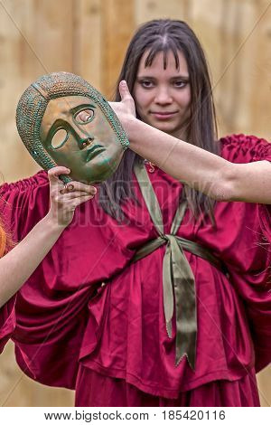 ALBA IULIA ROMANIA - APRIL 29 2017: Young Roman girl in one antical theatrical demonstration at APULUM ROMAN FESTIVAL organized by the City Hall.