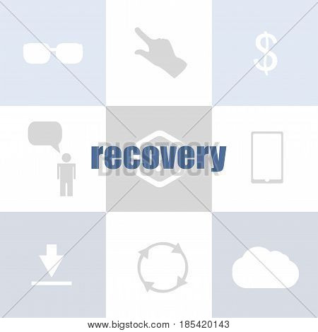 Information Concept. Text Recovery . Infographic Of Technology Or Education Process