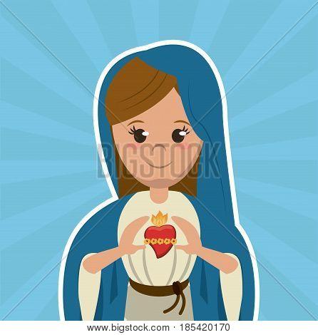 virgin mary sacred heart christian catholic symbol image vector illustration