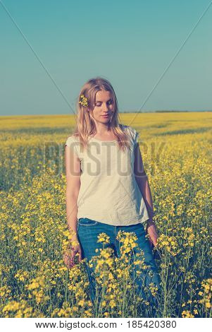 Amazing Girl, Blonde With A Bright Wildflower In Her Hair