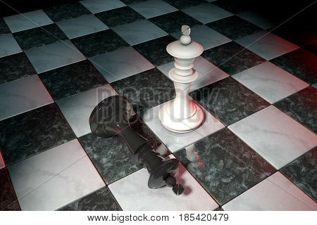 3d illustration: Two chess figures on the playing field. White king is a winner and a loser black lies prostrate at his feet. Fallen. Marble Board game. Spot red light. Darkness. Business strategy