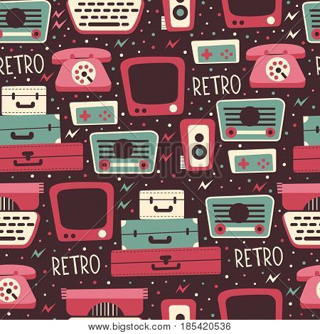 Seamless Pattern with Retro Media Elements. Vector Background of TV, Photo camera, Radio recorder, Phone and etc.
