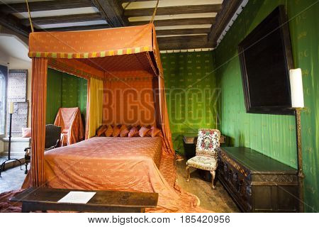January 25, 2017 Leeds Castle, England: Typical interior of an English castle. The sleeping room.