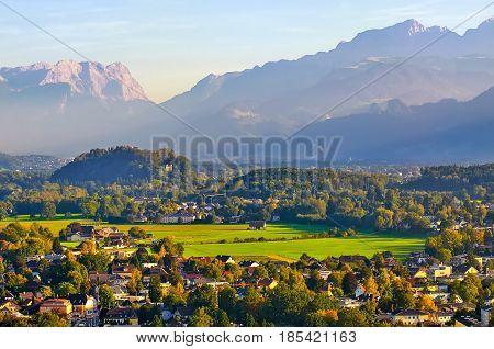 Beautiful View Of Salzburg With Festung Hohensalzburg At Sunset,