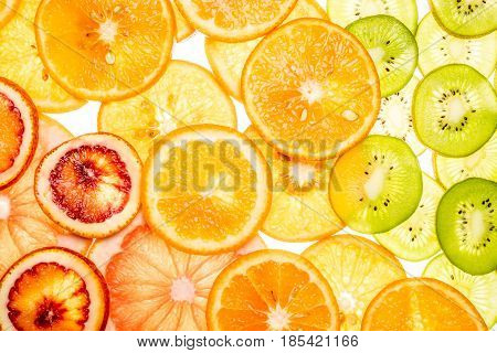 Mixed Transparent Citrus Fruit On White