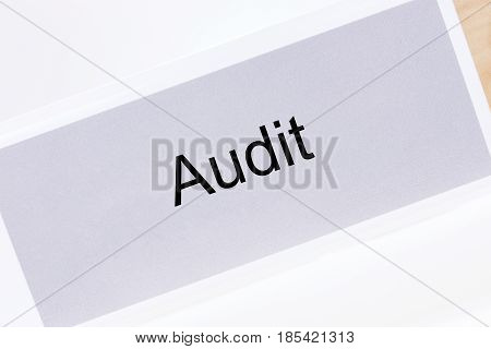 Office folder with the label audit on white background