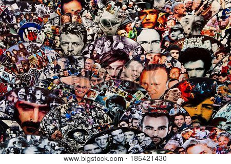 VIGNANELLO, ITALY. November 17, 2015: Cover of a vinyl record with the faces of many famous artists. In Vignanello, a city in the center of italy. Inside a shop in the Old Town.