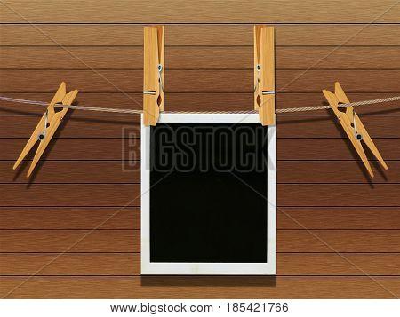 Old Film Frame Over Wood