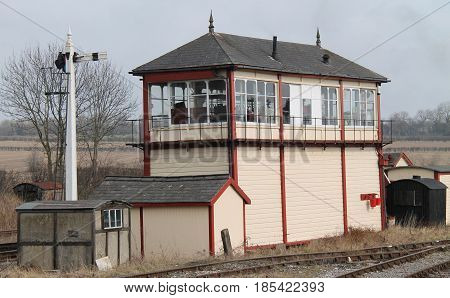 A Classic Railway Signal Box Controlling a Rail Junction.