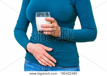 Woman With Lactose Problem Is Suffering From Stomach Pain