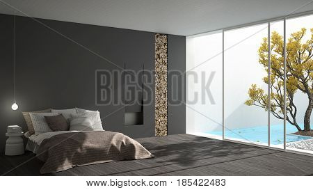 Minimalist modern bedroom with big window showing garden and swimming pool white and gray interior design, 3d illustration