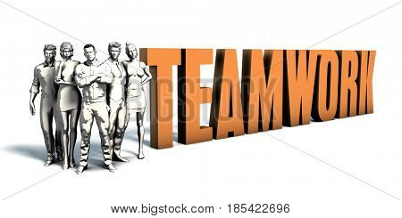 Business People Team Focusing on Improving Teamwork as a Concept 3D Illustration Render