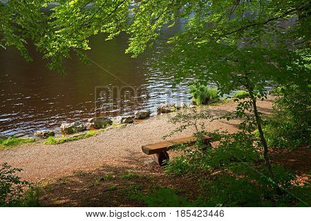 Resting Bench At The Shore Of A Moor Pond