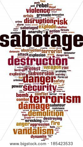 Sabotage word cloud concept. Vector illustration on white
