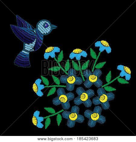 Blue flower with leaf and bird embroidery stitches imitation. Floral pattern with bird for neck line on black background. Embroidery vector.