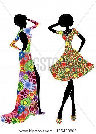 Slim Stylish Women In Ornate Ethnic Dresses