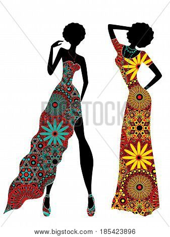 Slender Stylish Women In Ornate Ethnic Long Dresses