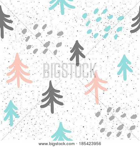 Spruce Seamless Background. Grey, Blue And Pink Spruce.