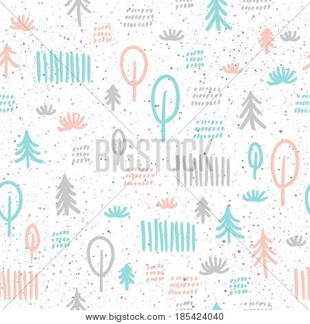 Spruce seamless background. Grey, blue and pink doodle spruce. Abstract seamless pattern for card, book, banner, diary cover, t-shirt, album, textile fabric, garment etc.