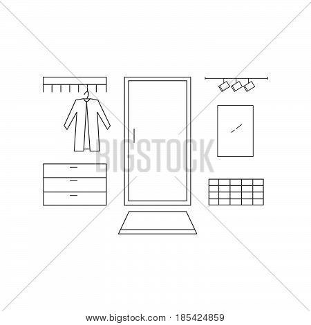 Hallway Line Vector Illustration.