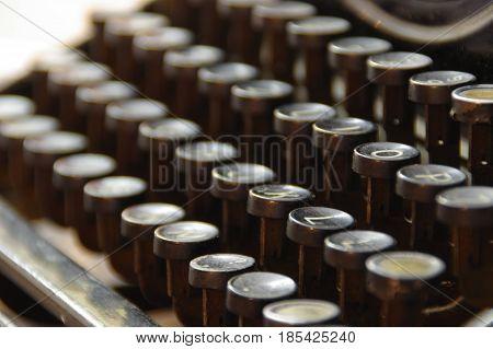 vintage keys of old typewriter macro details obsolete writing machine