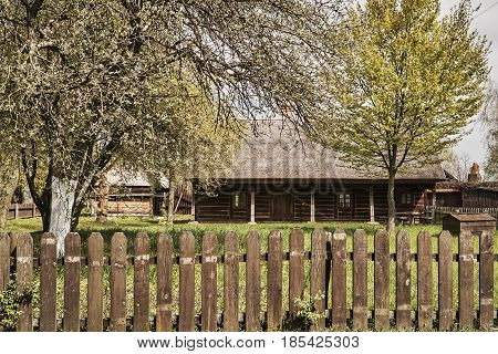 Rural traditional farm in spring in Poland