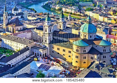 Amazing Panorama Of The Historic City Of Salzburg In Beautiful E