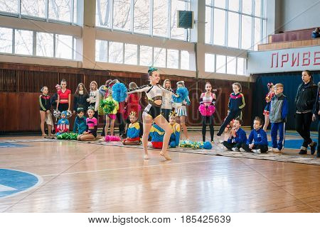 Dneprodzerzhinsk Ukraine - November 12 2016: Qualifying round for the cheerleading competition. Cup