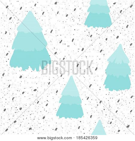 Spruce Seamless Background. Blue Doodle Spruce And Dots.